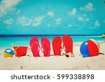 slippers  toys and diving mask... | Shutterstock . vector #599338898