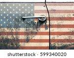 Usa Flag On Old Car Door. Retro ...
