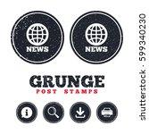 grunge post stamps. news sign... | Shutterstock .eps vector #599340230