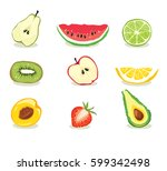 fruit slices    collection... | Shutterstock .eps vector #599342498