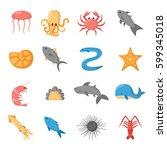 cartoon illustration  sea... | Shutterstock . vector #599345018