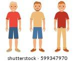 set of young men in summer... | Shutterstock .eps vector #599347970