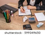 woman use calculator with... | Shutterstock . vector #599349650