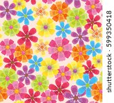 seamless pattern with flower | Shutterstock .eps vector #599350418