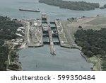 cargo ships passing through... | Shutterstock . vector #599350484
