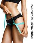 sporty girl in black lingerie... | Shutterstock . vector #599350493