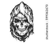death skull in worn hood. hand... | Shutterstock .eps vector #599362670