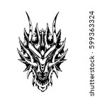 Dragon Head. Hand Drawn Vector...