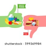 unhealthy junk and healthy food ... | Shutterstock .eps vector #599369984