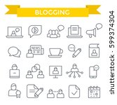 blogging icon set  thin line ... | Shutterstock .eps vector #599374304