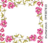 rectangle frame of pink cherry... | Shutterstock . vector #599387810
