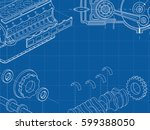 technical blue background with... | Shutterstock .eps vector #599388050