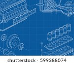 technical blue background with... | Shutterstock .eps vector #599388074