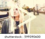 young hipster woman listening...   Shutterstock . vector #599390600