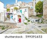 scenic sight in vico garganico  ... | Shutterstock . vector #599391653