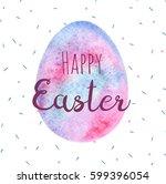 watercolor easter card.... | Shutterstock . vector #599396054
