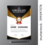 certificate template a4 size... | Shutterstock .eps vector #599397578