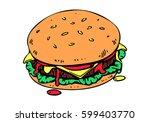 graphic hamburger  vector   Shutterstock .eps vector #599403770