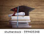 graduation cap with graduation...   Shutterstock . vector #599405348