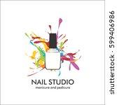 nail studio. design template... | Shutterstock .eps vector #599406986