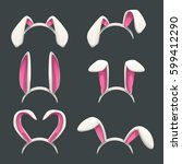 funny bunny white ears set.... | Shutterstock .eps vector #599412290
