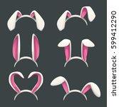 funny bunny white ears set.... | Shutterstock .eps vector #599412290