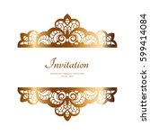 vintage gold frame with lace...   Shutterstock .eps vector #599414084