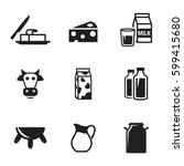 milk icons set. black on a... | Shutterstock .eps vector #599415680