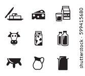milk icons set. black on a... | Shutterstock .eps vector #599415680