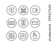 Finance icons. Finance icons line style vector | Shutterstock vector #599417624