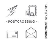 line black postage stamp icon... | Shutterstock .eps vector #599419784