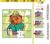 jigsaw puzzle game for children ... | Shutterstock .eps vector #599420066