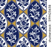 seamless geometrical damask... | Shutterstock .eps vector #599425658