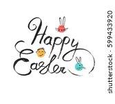 calligraphic happy easter...   Shutterstock .eps vector #599433920