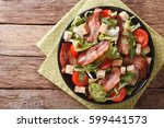 spicy salad of bacon  tomato ... | Shutterstock . vector #599441573