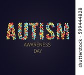 autism awareness poster with... | Shutterstock .eps vector #599444828