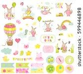 baby girl kangaroo scrapbook... | Shutterstock .eps vector #599446898