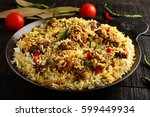 famous indian mutton pilaf or ... | Shutterstock . vector #599449934
