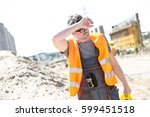 tired construction worker... | Shutterstock . vector #599451518