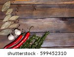 red chili pepper and rosemary... | Shutterstock . vector #599452310