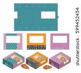 set of rectangle cake box... | Shutterstock .eps vector #599452454