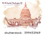 Stock vector front view of the us capitol building cityscape urban hand drawing sketch on grunge sepia spot 599453969
