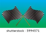 Illustrated checkered flag on a green and blue background