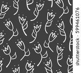 Doodle tulip seamless pattern. Simple outline background. Sketch wallpaper. Vector illustration.