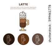 latte coffee with whipped cream.... | Shutterstock .eps vector #599461778
