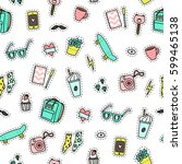hipster objects background.... | Shutterstock .eps vector #599465138
