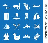 set of 16 sea filled icons such ... | Shutterstock .eps vector #599465840