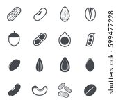 Nut Icons. Vector Illustration.