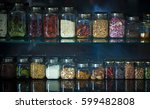 spice jar stack up spice rack | Shutterstock . vector #599482808
