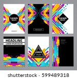 set of abstract geometric... | Shutterstock .eps vector #599489318